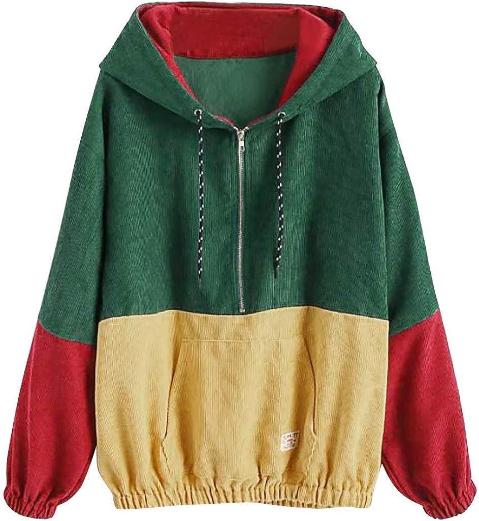 Very popular Minneapolis Mall F_Gotal Splicing Zipper Pocket Hooded Sleeves Long Cap Blous Top