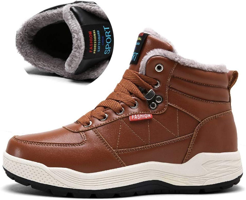 FHCGMX Mode Winter Männliche Stiefel Erwachsene Schuhe Für Männer Warme Kurze Plüsch Qualität Schnee Wasserdichte PU Leder Pelzstiefel männer  | Feinbearbeitung
