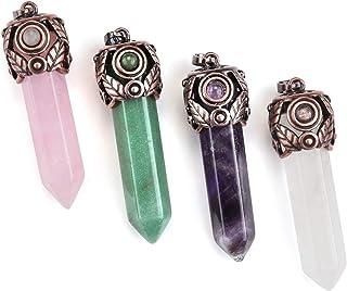 Top Plaza 4 Pcs Healing Crystal Stone Hexagonal Prism Gemstone Quartz Pendant Necklaces Retro Antique Brass Chakra Jewelry for Womens Girls