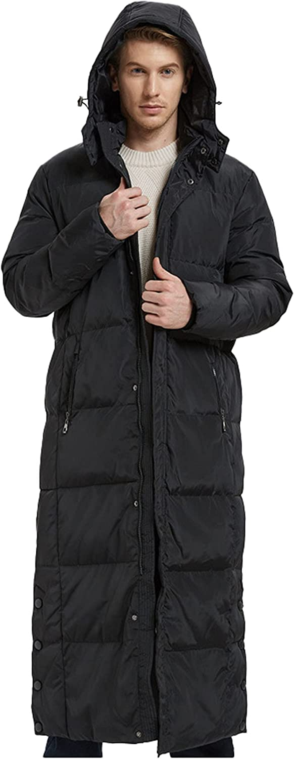 LZJDS Men's Winter Warm Down Coat Men Full-Length Packaged Down Puffer Jacket Long Coat with Removable Hooded