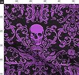 schwarz, lila, Totenkopf, Halloween, gespenstisch, makaber,