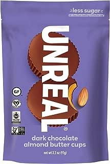 UNREAL Dark Chocolate Almond Butter Cups   Vegan, Gluten Free, Less Sugar   6 Bags