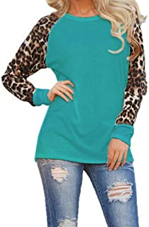 CUCUHAM Womens Leopard Blouse Long Sleeve Fashion Ladies T-Shirt Oversize Tops