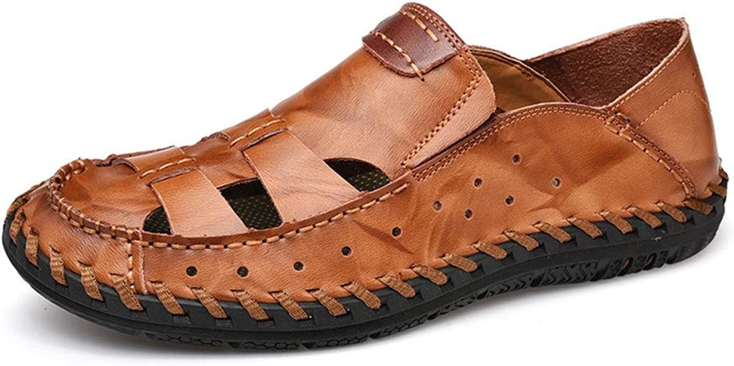 Sandals For Men Fisherman Breathable Casual Water shoes Walking Outdoor Beach Travel Stitch Slippers Leather Closed Toe Anti-Slip Cricket shoes (color   Reddish Brown, Size   7.5 UK)