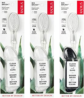 RADIUS Toothbrush Big Brush, Right Hand - 3 Pack in Assorted Colors, BPA Free and ADA Accepted, Designed to Improve Gum He...