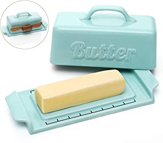 DOWAN Butter Dish with Lid, Porcelain Butter Container with Wooden Knife, Mini Butter Dish, Blue