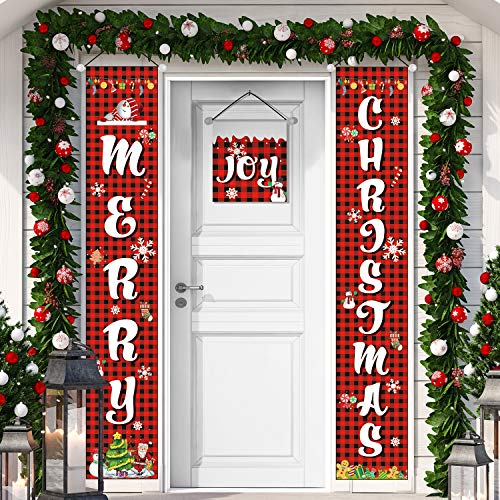 3 Pieces Merry Welcome Christmas Buffalo Checker Plaid Red Green Porch Banners Front Door Sign Joy Hanging Christmas Decorations for Home Wall Indoor Outdoor Holiday Party Favors (Color 2)