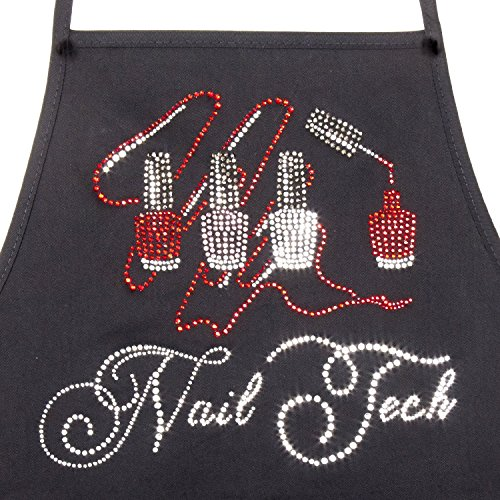 Women's Crystal Rhinestone Stylist Salon Nail Tech Bib Apron (Black)