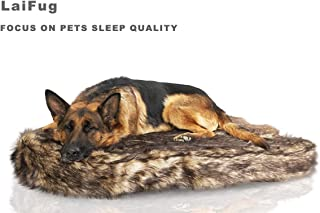 Laifug Luxury Large Dog Bed,5-inch Thick Orthopedic Memory Foam Dog Bed,Removable and Washable Faux Fur Cover,Waterproof Liner