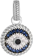 Sterling Silver Evil Eye Necklace Pendant Micro Pave Synthetic Blue Sapphire & CZ, 9/16 inch