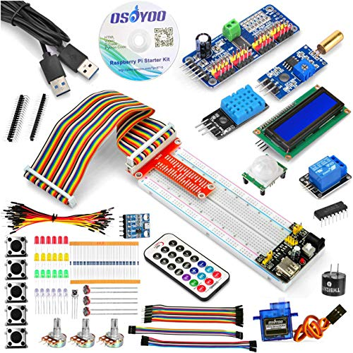 OSOYOO Raspberry Pi 4 3B 3B+ Zero W Starter DIY Kit for beginners Teenages | STEM Robotic Education for Building Programming Learning How to code C & Python | Bundle Include 15 Kinds Electronics Units