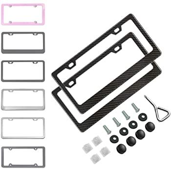 2 Holes Wide Silver Washers and Screw Caps for US Standard Ibetter 2 PCS Thick Aluminum Alloy Polish Mirror License Plate Frames Car Licence Plate Holder Covers with Bolts