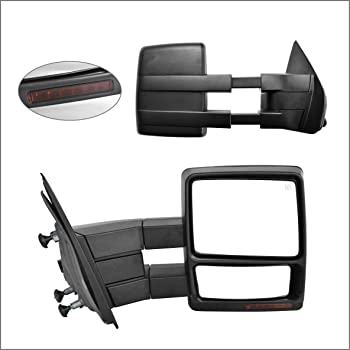 AUTOMUTO Towing Mirrors Left and Right Side Tow Mirrors Power Adjusted Heated Turn Signal Puddle Clearance Auxiliary Light Chrome Housing Fit Compatible with 2004-2014 For Ford F-150 Pickup Truck