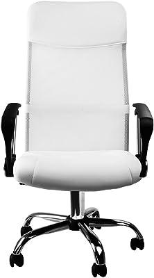 Deuba Silla de Oficina Color Blanco | ergonómica | posa Brazos | regulación automática de Altura