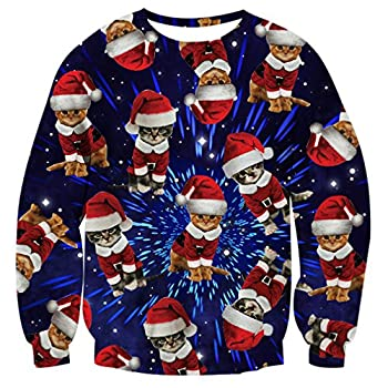 Men Women Ugly Christmas Sweater Xmas Sweatshirt Funny Galaxy Space Lightning Santa Cat Print Xmas Pullover Sweatshirt for Women Men