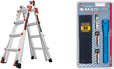 Little Giant Ladders, Velocity, M17, 9-15 Foot, Multi-Position Ladder, Aluminum, Type 1A, 300 lbs Weight Rating, (15417-001) & Maglite Mini Incandescent 2-Cell AA Flashlight with Holster, Blue