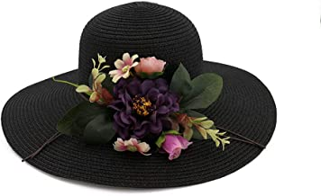 2019 Women Womens Floral Sun Hat Wide-Brimmed Hat for Women Summer Hat Ladies Beach Panama Straw Dome Shadow Hat Elegant Mesh Sunscreen Travel Outdoor Vacation (Color : Black, Size : 56-58CM)
