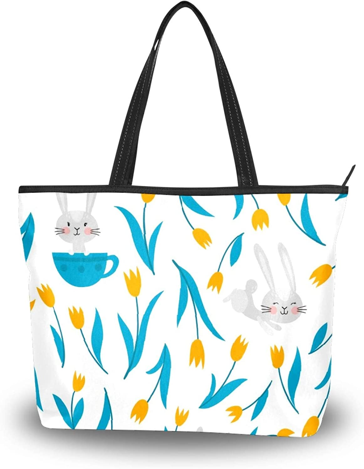 50 Cent Bombing new work Rabbits Tulips Tote San Jose Mall Polyester Bag Lightweight Sho Women