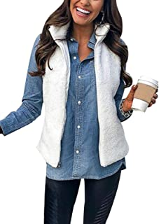 SHIBEVER Womens Casual Fuzzy Vest Sleeveless Sherpa Fleeve Zip Up Warm Cardigan Waistcoat Outwear with Pockets