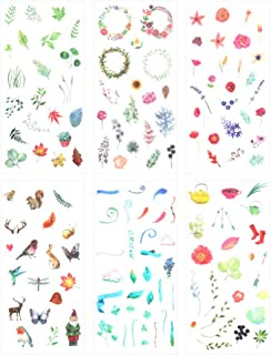 3 Set(18 Sheet) Fresh Nature Floral Plants Leaf Flower Cute Animal Stationery Sticker Scrapbooking Planner Journal Diary D...