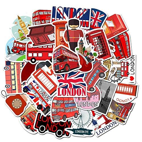 PMSMT Cabina de teléfono de autobús de Dibujos Animados Popular roja de 10/30/50 Uds, Londres, Inglaterra, Pegatina Impermeable para Equipaje portátil, decoración al por Mayor