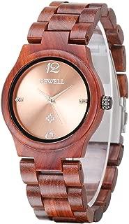 Wooden Watches for Women Analog Quartz Minimalist Wristwatch Lady with Wood Bracelet