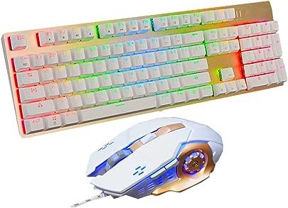 Snfgoij Mechanische Tastatur Maus-Set Desktop-Kabel-Spiele Arbeiten Schlanke Tastatur White Schätzpreis : 76,99 €