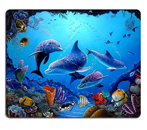 Wknoon Mouse Pad Amazing Colorful Underwater World Landscapes Beautiful Dolphins Art Custom Design, 9.5 X 7.9 Inch (240mmX200mmX3mm)