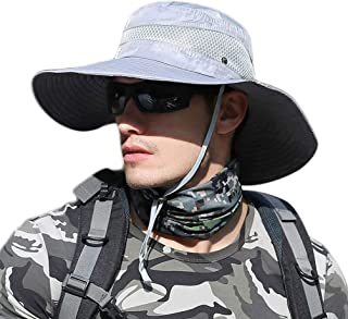 Mens Summer Hats for Sun Protection Outdoor Hat Men Wide Brim Fishing Hats Lightweight