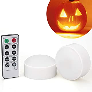 [2-Pack] Halloween LED Pumpkin Lights with Remote and Timer, Battery Operated Orange Jack-O-Lantern Light for Halloween Décor, Flameless Candles for Pumpkin