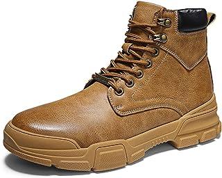 WENQU Cómoda botín for los Hombres Calzado Deportivo Ritmo del Dedo del pie ata for Arriba el Cuero sintético de Costura Retro del Tubo inadecuada a Prueba de Herrumbre Ojales Antideslizante