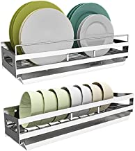 Kitchen Storage Rack Wall-Mounted Stainless Steel Dish with Separate Drain Pan for Kitchen, Storage