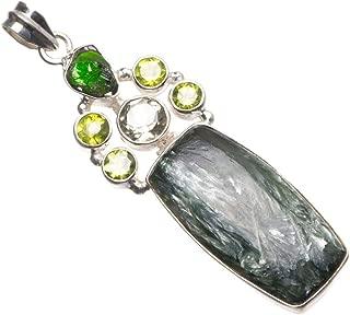 Natural Russian Serpentine,Peridot,Green Amethyst&Green Amethyst Rough 925 Silver Pendant 2.5