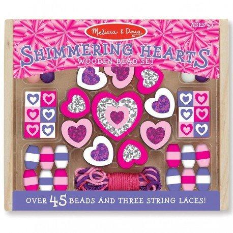 Loisir créatif 45 perles en bois coeur rose et violet Kit perles fantaisies pour enfants 4 ans