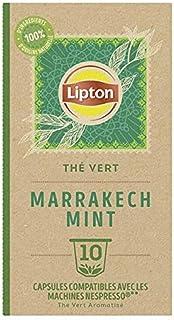 Lipton Thé Vert Marrakech Mint, 10 Capsules Compatibles Nespresso, Antioxydant et Parfumé, Menthe Fraîche et Délicate, Lab...