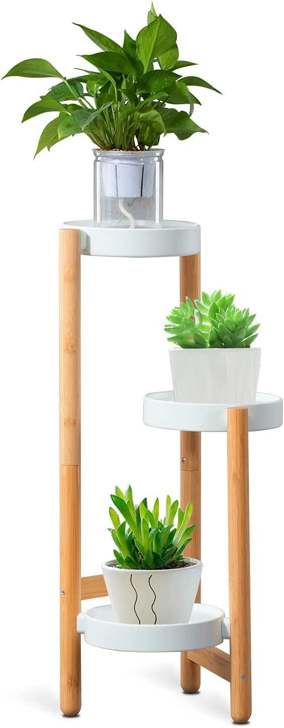 Bamboo Plant Stand 3 Tier Plant Holder for Multiple Flower Pots HoVoit Indoor & Outdoor Plant Display Rack for Patio Garden Living Room Corner
