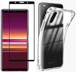 Boleyi För Sony Xperia 5 III fodral med skärmskydd, [2 i 1] TPU silikonfodral + [1 PACK] 9H härdat glas skärmskydd för Son...