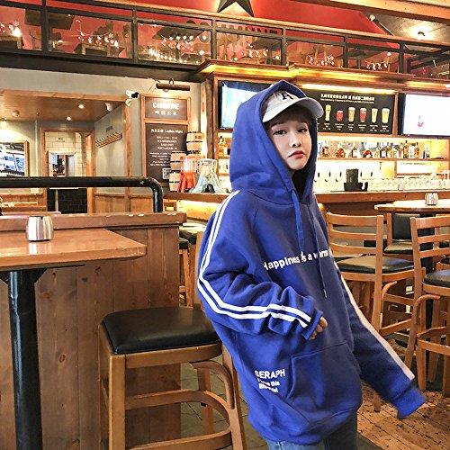 NSWY Women's Pullover im Frühjahr und Samt Gepolstert mit Kapuze Lose Große Version Der Langärmeligen Hedron Pullover Jacke,Blau,Der gesamte Code