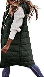 Winter Vest for Women Long Warm Sleeveless Down Jackets Quilted Jacket Coats Thick Slim Zipper Gilet with Pockets