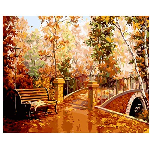 Kunst Malen nach Zahlen Herbst Wald Abkürzung Landschaft DIY Digital Painting Moderne Wandkunst Leinen Malerei Geschenk für Kinder Home Decor-50 * 65cm