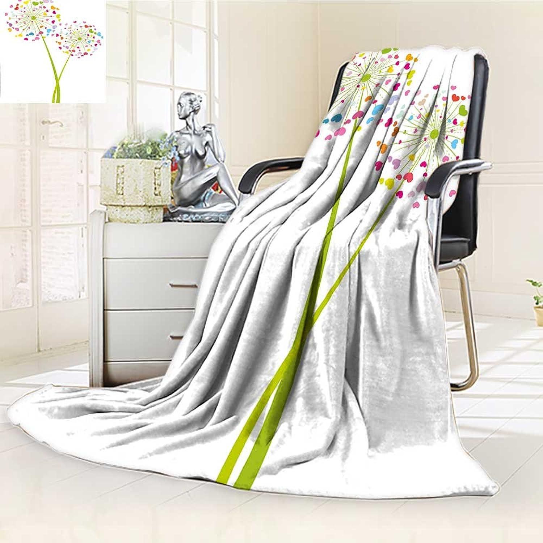 AmaPark Digital Printing Blanket Dandelion Flower with Heart Shaped Petals Romance Valentines Design Summer Quilt Comforter
