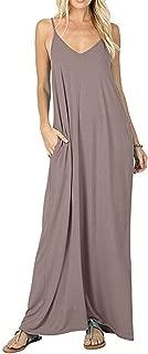 Women's Casual Plain V-Neck Loose Beach Cover-Up Long Maxi Cami Dress Pockets