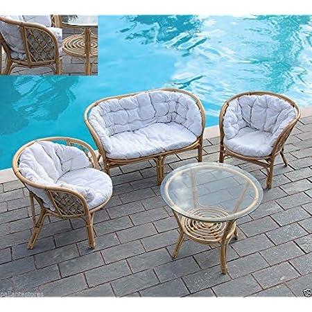 Gartenmobel Set Modell Delia Aus Rattan 2 Sitzer Sofa 2 Sessel Tisch Amazon De Kuche Haushalt