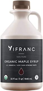 Vifranc Organic US Grade A Maple Syrup, Very Dark, 32 Ounce