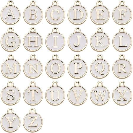 JHD Niedliche gemischte 26 Buchstaben Metall Charms doppelseitige Emaille Initial Alphabet A-Z Anh/änger Perlen f/ür DIY Schmuckherstellung Halskette Armband