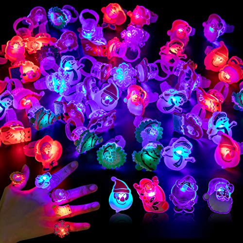 QKURT 50 PCS Christmas Party Favors LED Finger Light, Glow Rings LED Party Favors LED Ring Light Jelly Flashing Finger Toys for Kids and Adults Party Supplies (Random Style)