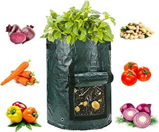 4-Pack Potato Grow Bags, Garden Vegetable Grow Bags with Access Flap and Handles, Indoor Outdoor Waterproof Breathable Fel...