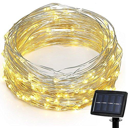 Hallomall LED Solar Powered String Lights, 2 Modes Steady on...