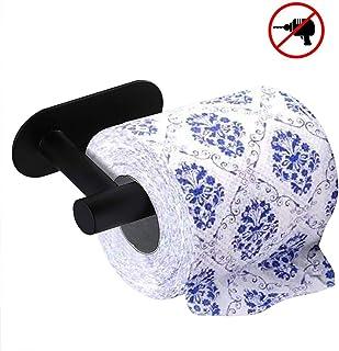 "Matte Black Toilet Paper Holder Toilet Paper roll Holder Self Adhesive SUS 304 Stainless Steel No Drilling for Bathroom Bedroom Kitchen (Matte Black, 6.5"")"