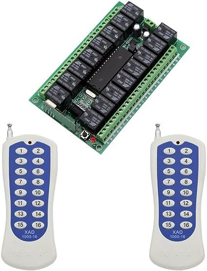 eMylo DC 12V Wireless Remote Control Momentary Light Switch RF Relay - 12V 16 Relays